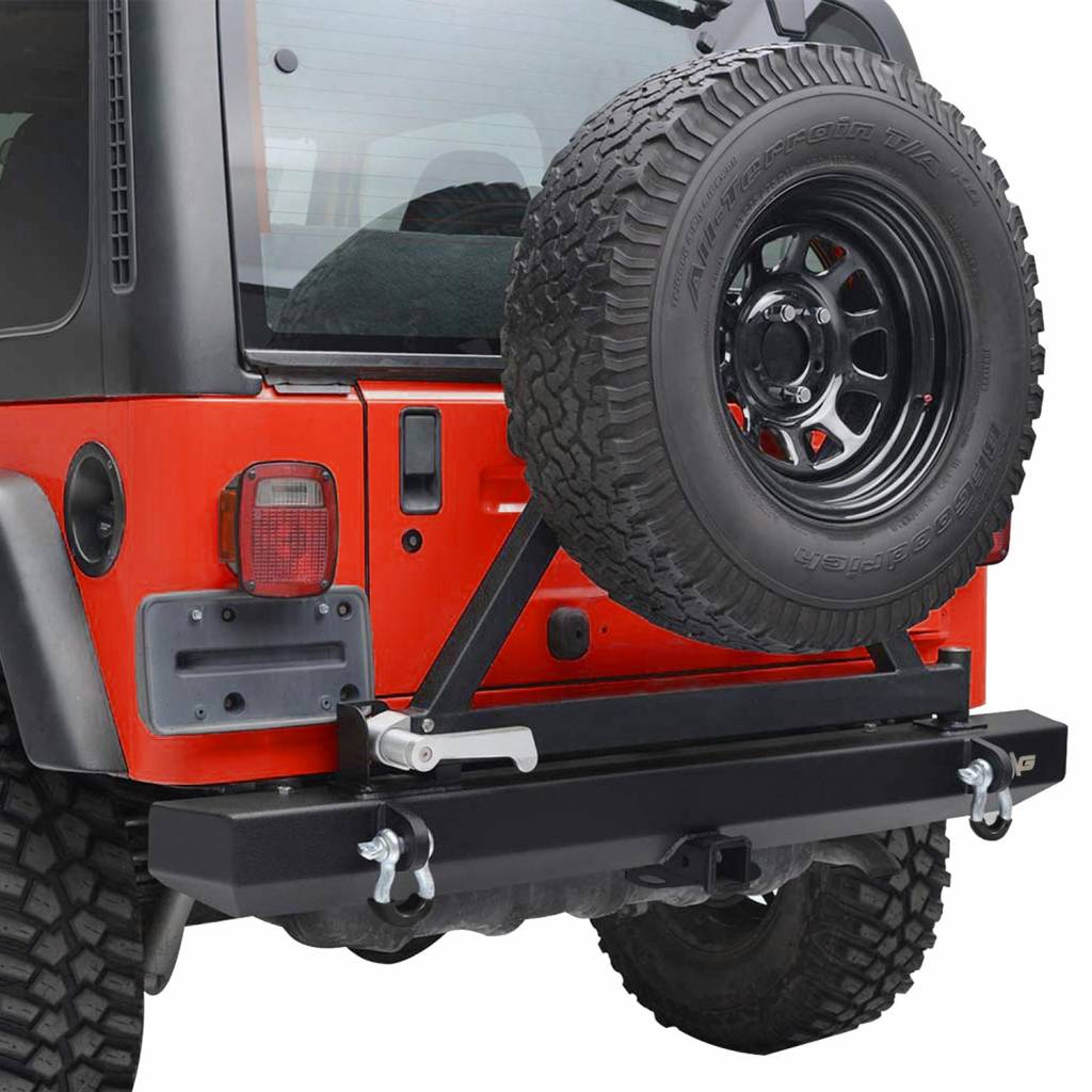 BBUT Black Textured Rear Bumper W//Tire Carrier and 2 inch Hitch Receiver for Jeep Wrangler YJ TJ 1987 1988 1999 1990 1991 1992 1993 1994 1995 1996 1997 1998 1999 2000 2001 2002 2003 2004 2005 2006