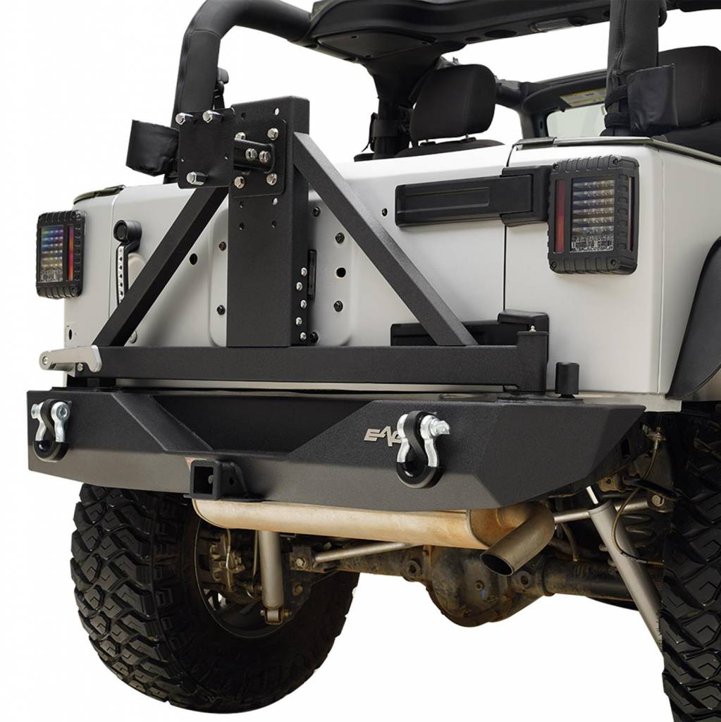 EAG Rear License Plate Relocation Brackets Fit for 2007-2018 Jeep Wrangler JK Rear Bumper with Spare Tire Carrier