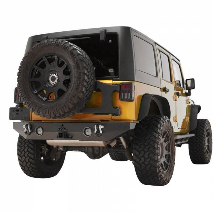 Paramount - Paramount Automotive 07-18 Jeep Wrangler JK Offroad Rear Bumper with LED Lights